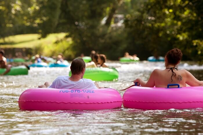 family tubing in camping