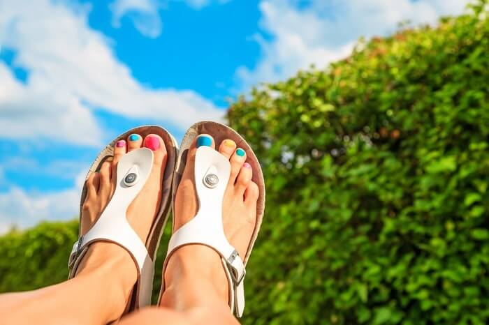 women wear sandals in camping