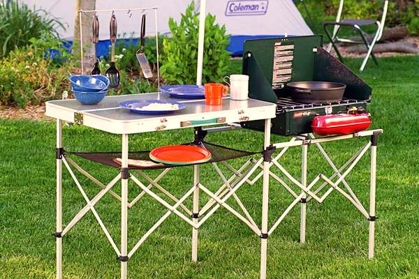 folding camping grill table